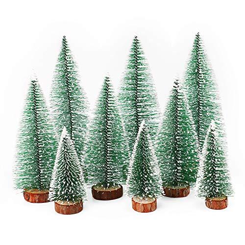 Herefun Mini Weihnachtsbaum Künstlicher, 9 Stück Mini Tannenbaum Künstlich mit Schnee-Effek, Weihnachtsdeko Weihnachten Tischdeko DIY Grün Klein Mini Christbaum 10/15 /20 cm