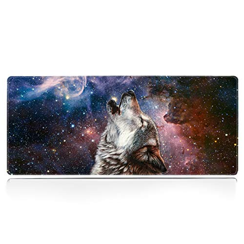 ZYCCW Large Gaming XXL Mouse Pad with Stitched Edge 31.5'x11.8'x0.15' Howling Wolf Mouse Mat Customized Extended Gaming Mouse Pad Anti-Slip Rubber Base Ergonomic Mouse Pad for Computer
