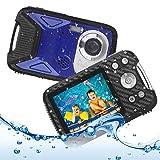 Heegomn Cámara Digital Impermeable para niños, 16MP Full HD 1080P, Zoom Digital 8X, Cámara subacuática para Adolescentes/Principiantes (Azul)
