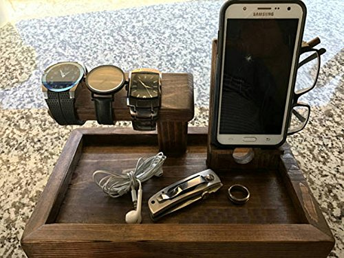 Nightstand Organizer, watch holder, and other pocket stuff organizer - The Gentleman's Catch All Hybrid -the Wingman