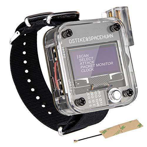 Seamuing WiFi Test ESP8266 WiFi Deauther Uhr V3 DSTIKE NodeMCU ESP8266 Programmierbare Entwicklungsplatine Eingebauter 800 mAh Akku mit OLED Dispaly, Armband und 3D-Druckgehäuse