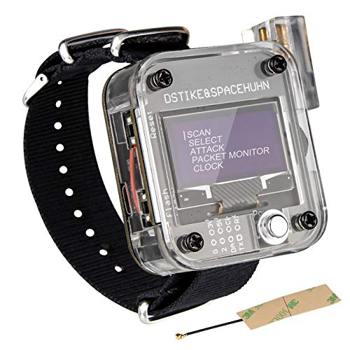 Seamuing WiFi Test ESP8266 WiFi Deauther Reloj V3 DSTIKE NodeMCU ESP8266 Placa de desarrollo programable Batería incorporada de 800 mAh con pantalla OLED Dispaly, pulsera y carcasa de impresión 3D