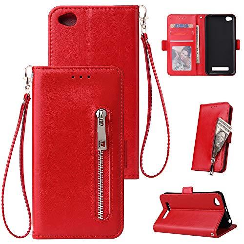 WIWJ Kompatibel mit Xiaomi Redmi 4A Hülle Reißverschluss Lederhülle Wallet Handyhülle Klapphülle Ultra Slim Flip Case Stand Schutzhülle 360 Grad Bumper Tasche-Rot