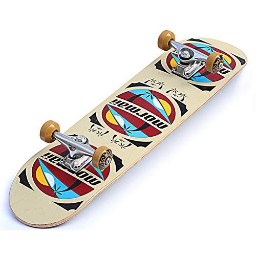 NENGGE Komplettes Skateboard, 7-lagigem Ahornholz Konkave Deckform mit Doppel-Kick Longboards, Belastung 150 kg, für Jugendliche Erwachsene Kinder,Beige