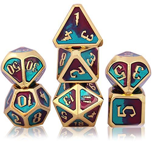 Schleuder Dadi Set D&D di Metallo Poliedrico DND, 7 Dice Set Gioco di Ruolo, per Rpg Dungeons & Dragons D&D Insegnamento della Matematica (Lightning - Blue And Purple Mixed)