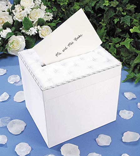 Darice White Victoria Lynn Wedding Card Box: Tufted Satin with Crystal Accents