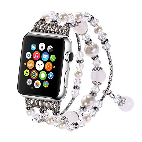 Aspack Replacement Bands Compatible Apple Watch Band 38mm/42mm iWatch Band Women Fashionable Faux Pearl Bracelet Beaded for Apple Watch Series 4 Series 3 Series 2 Series 1 Version (White.A, 42mm)