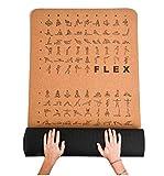 Mayoga - Esterilla de yoga de corcho con ejercicios Flex & Yoga + correa extra antideslizante – la esterilla de fitness perfecta para principiantes y profesionales, 183 x 61 x 0,8 cm