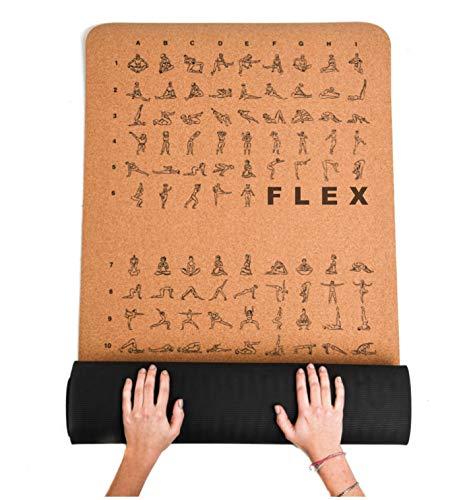 MAYOGA - Yogamatte aus Kork mit Flex & Yoga Übungen+extra Tragegurt rutschfest, hypoallergen und biologische abbaubar - Die perfekte Fitnessmatte mit 8 mm Stärke, 183 x 61 x 0,8 cm