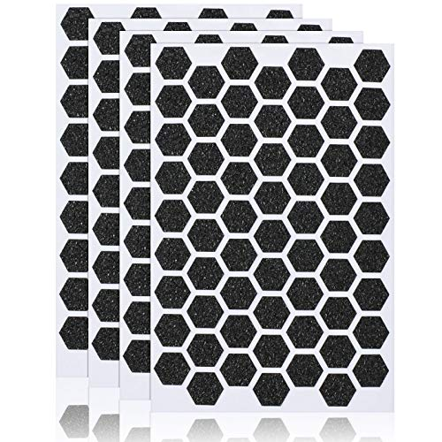 4 Sheets Phone Grip Tape Stickers Hexagon Decal Tapes Anti-Slip Rubber Phone Tapes Adhesive Traction Grip Decals for Phones Keyboards Game Machines Mouse Controllers (Black)