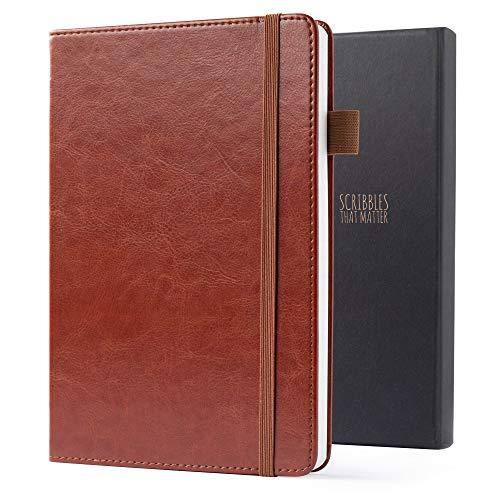 Notizbuch A5 Kariert von Scribbles That Matter - Liniert Journal Buch - Ein Guter Plan Notizblock - Notizbuch Leder - Hardcover, dickes Papier, Kartenhalter, Stiftschlaufe und Endtasche