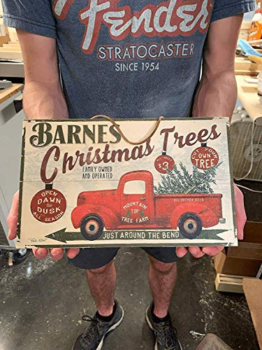 Christmas Tree Farm Red Pickup Truck. Custom 7x12 inch Personalized Wood Sign. Add Family Name to Create a One of a Kind, Thoughtful, and Memorable Gift for anyone this Holiday Season.