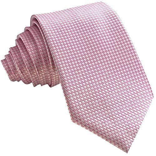 GASSANI Schmale Krawatte 8cm Fein Karierte | Karo Herrenkrawatte zum Sakko Anzug | Schlips Binder mit Rosane Weisse Karos