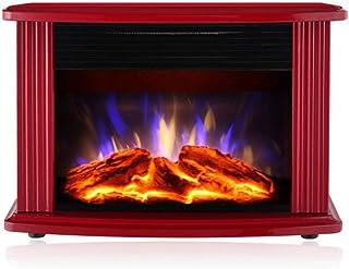 GYF Calefactor eléctrico 2000W Calefactor Eléctrico Bajo Consumo De Pie Casa El Ahorro De Energía Metal Calentador Fuego De Carbón Simulado Calentamiento Silencioso Vidrio Templado Rojo (Color : A)