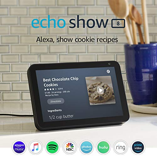 """Echo Show 8"""" HD smart display with Alexa – stay connected with video calling"""