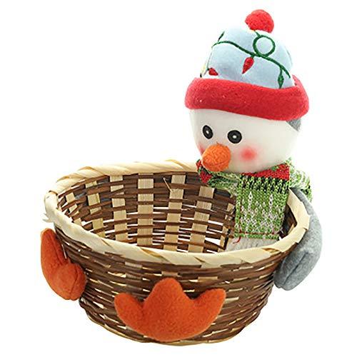 Weihnachtsfruchtkorb Bambus Süßigkeiten Süße Lagerkorb Anwenden für Home Decoration Kinder Weihnachtstag Geschenk,Penguin,XL
