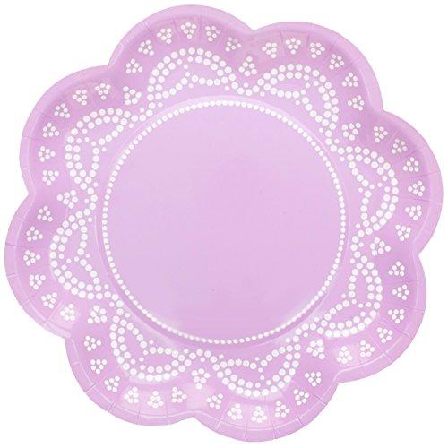 InviteMe 10 platos de papel con forma de flor con encaje blanco y lila 'White Lace'