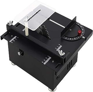 Sierra de mesa, mini sierra eléctrica de mesa multifuncional Guía de ángulo Motor de husillo 895 DC24V-6A Hoja de sierra elevable Hoja Banco de carpintería Sierra de mesa de corte de madera (Black)