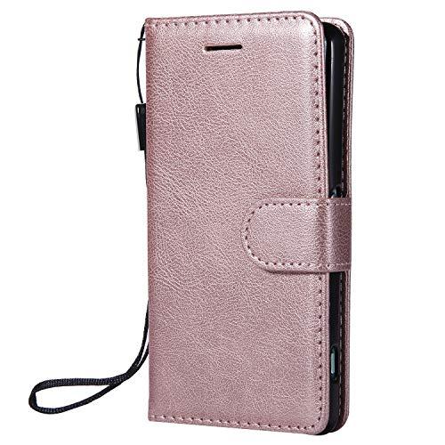 Hülle für Sony [Xperia Z3 Compact] Hülle Leder,[Kartenfach & Standfunktion] Flip Case Lederhülle Schutzhülle für Xperia Z3 Compact - EYKT051757 Rosa Gold