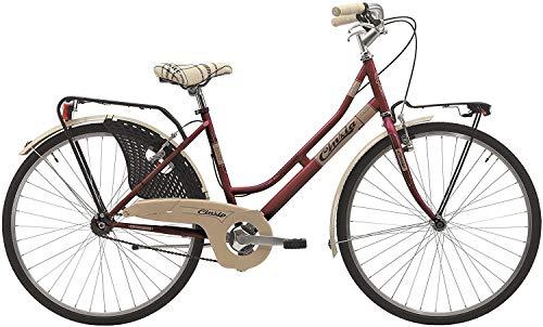 CINZIA Cicli Bicicletta 26' Citybike Donna Friendly, Senza Cambio, V-Brake Alluminio, Amaranto