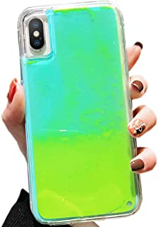 SGVAHY Fluorescent Case for iPhone 7 Plus, Luxury Luminous Glow Liquid Quicksand Hard PC Back Cover + Soft TPU Bumper Shockproof Protective Case for iPhone 8 Plus (Green, iPhone 7 Plus / 8 Plus)