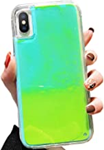 SGVAHY Fluorescent Case for iPhone 6 Plus, Luxury Luminous Glow Liquid Quicksand Hard PC Back Cover + Soft TPU Bumper Shockproof Protective Case for iPhone 6s Plus (Green, iPhone 6 Plus / 6s Plus)