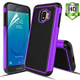 Compatible with Samsung Galaxy J2 Case/J2 Shine/J2 Core/J2 Dash/J2 Pure/J260 Case,w HD screen protector Dual Layers Protective Hard PC Football Lines Design Back Soft TPU Rubber Shockproof Case.Purple