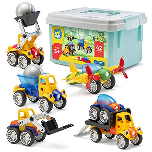 Play Brainy Magnetic Toy Cars Set for Boys and Girls - Brilliant Educational Toys for Toddlers and...