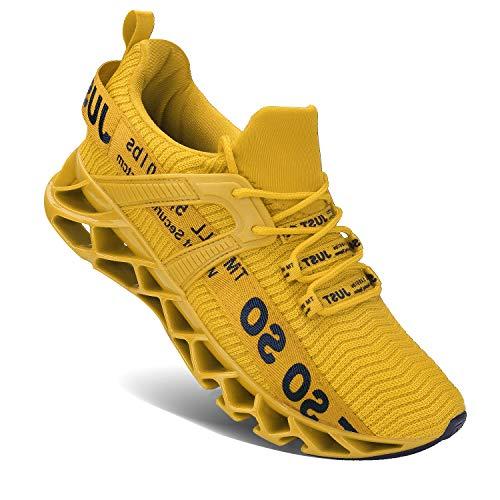 Wonesion Herren Fitness Laufschuhe Atmungsaktiv rutschfeste Mode Sneaker Sportschuhe,3 Gelb,44 EU