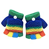 TLZR Niños pequeños bebé niña Multicolor Medio Dedos Invierno cálido Flip Cap Guantes para 2-6 años de Edad (Azul Oscuro)