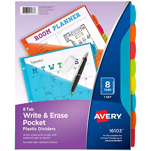 Avery Write & Erase Durable Plastic Dividers with Pockets, 8-Tab Set, Brights (16103)