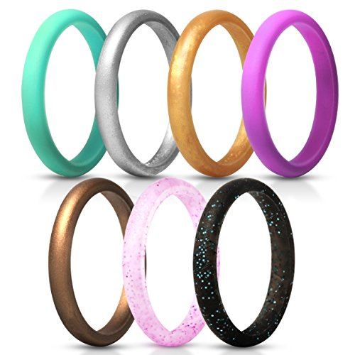 ThunderFit Women's Thin and Stackable Silicone Rings Wedding Bands - 7 Pack (Black with Turquoise Glitter, Turquoise, Copper, Silver, Red Glitter, Deep Pink, and Gold, 5.5-6 (16.5mm))