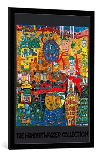 kunst für alle Bild mit Bilder-Rahmen: Friedensreich Hundertwasser Das 30 Tage Fax Bild - dekorativer Kunstdruck, hochwertig gerahmt, 59x84 cm, Schwarz/Kante grau