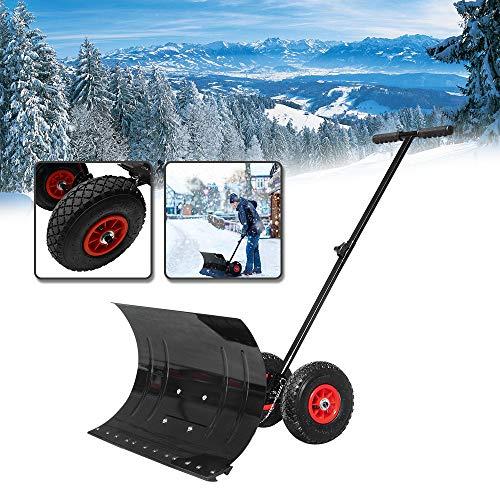 YINGXI Schneeschaufel auf Rädern Fahrbar Schneeschild Schneeschieber mit extra-breiten Kunststoffblatt von 75 cm, Höhenverstellbar und Kunststoffüberzug