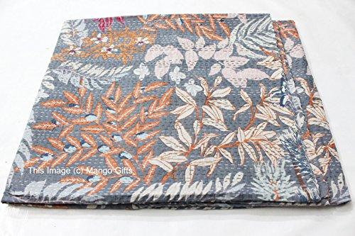 Mango Gifts Kantha-Decke, Kantha-Decke, Bettüberwurf, King-Size-Bettüberwurf, Bohemian-Bettwäsche, ca. 226 x 274 cm, Baumwolle, grau, Size 86