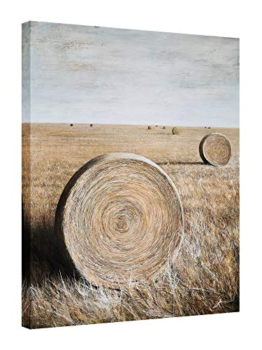Yihui Arts Rustic Canvas Wall Art Hand Painted Hay Bales Pictures Modern Abstract Vintage Oil Paintings Vertical Artwork for Living Room Bedroom Bathroom Decor