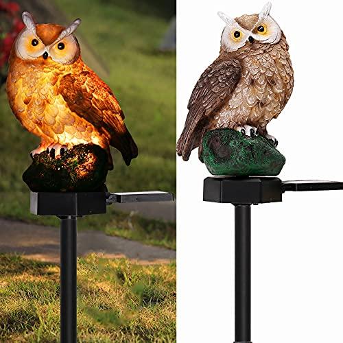 Garden Solar Lights Outdoor Decor- Resin Owl Solar LED Garden Lights-Waterproof, Energy Saving- Owl Shape with Stake for Garden Lawn, Yard Art, Pathway, Patio Decors(Brown)