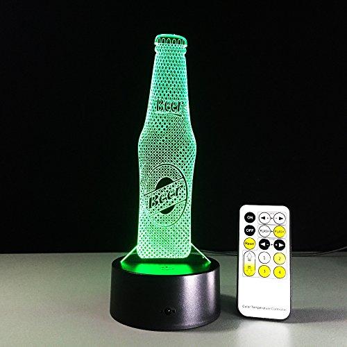 Led Nachtlicht Lampen Bierflasche 3D Lampe Für Kinder - Spielzeug Nachtlicht Für Kinder,7 Farbwechsel Mit Fernbedienung Oder Touch, Dekorieren Kinder Bedroom. Beste Geschenk