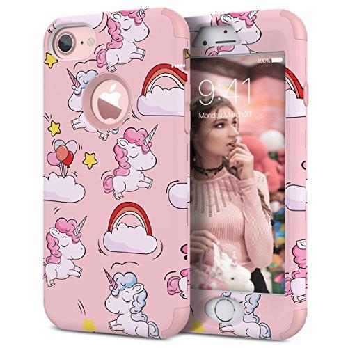 WE LOVE CASE Cover iPhone 6 / 6s 360 Gradi Full Body Protection Custodia e Silicone Morbido Shockproof Hybrid 3 in 1 Protettiva Protezione Coperture Caso per Apple iPhone 6 6s 4,7 - Rosa Unicorno