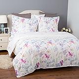 Bedsure Bettwäsche 135x200 cm weiße Bettbezug Set mit Blumen Muster, 2 teilig microfaser Bettwäsche warme& atmungsaktive Bettbezüge mit Reißverschluss und 1 mal 80x80cm Kissenbezug