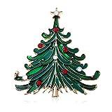 Nice DesignNette - Broche de Navidad, diseño de árbol de Navidad con brillantes rojos y blancos, joya de regalo para mujeres, portátil y útil