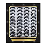 Gotoit 20 Pairs Faux Mink Lashes, 5 Styles Natural Fluffy False Eyelashes, 3D Volume Dramatic Eyelashes Makeup Reusable Pack, Wispy Fake Eyelashes for Women Girls Gifts
