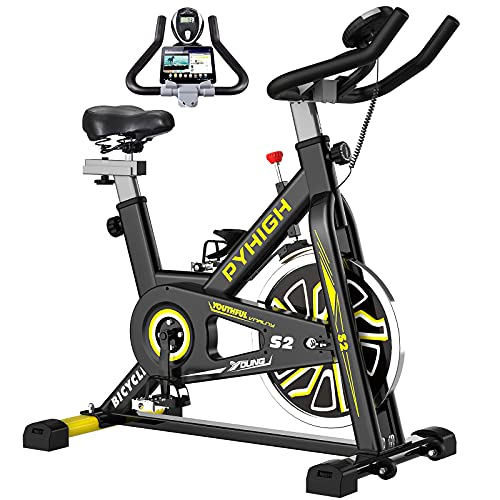 PYHIGH Indoor Cycling Bike Stationary Exercise Bike, Comfortable Seat Cushion, Ipad Holder with LCD Monitor for Home Cardio Workout Bike by PYHIGH FITNESS