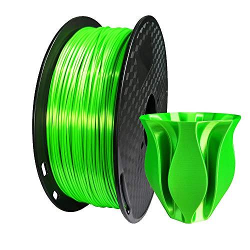 Kehuashina PLA Filament 1.75mm Diameter for 3D Printer - Shiny Metallic Luster Silk Green - 1kg(2.2LB) Silk Pla Spool (Like Real Gold) - 3D Printer Supplies Accessories