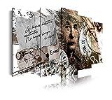 DekoArte 454 - Cuadros Modernos Impresión de Imagen Artística Digitalizada | Lienzo Decorativo para Tu Salón o Dormitorio | Estilo Vintage Ciencia Abstractos Einstein | 5 Piezas 150 x 80 cm