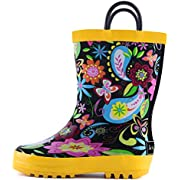 landchief Kids Rain Boots, Waterproof Rubber Rainboots with Easy-On Handles, Boys & Girls
