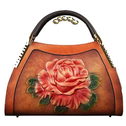 GGLZMMF Bolso de Mujer de Cuero Repujado Tridimensional, Bolso de Hombro Vintage, Bolso Bandolera Floral, Bolso de Mano de Gran Capacidad, Rojo Oscuro, Gris + Negro, marrón Brown-OneSize