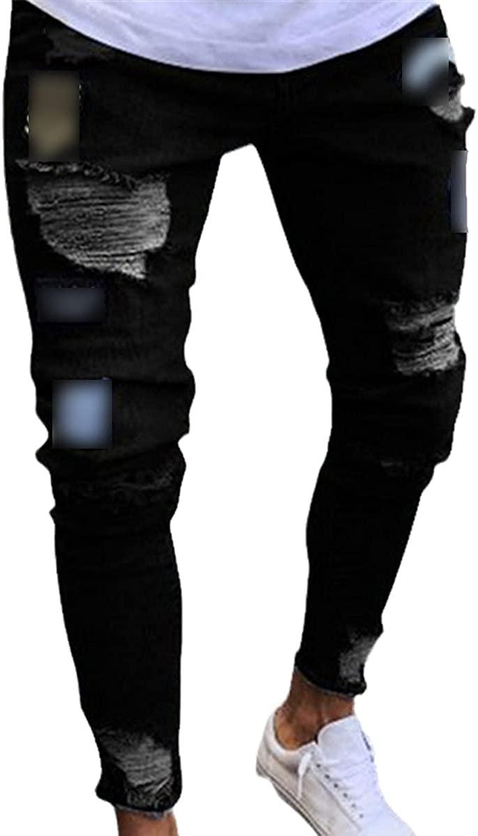 CACLSL Men's Jeans Ripped Tight-Fitting Motorcycle Embroidery Badge Jeans Straight Slim-fit Denim Trousers