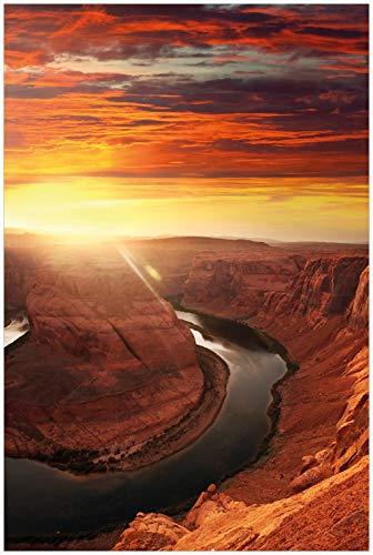 Wallario Glasbild Grand Canyon bei Sonnenuntergang - 60 x 90 cm in Premium-Qualität: Brillante Farben, freischwebende Optik