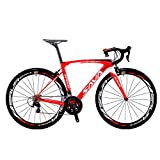 Carbon Road Bike, SAVA HERD6.0 T800 Carbon Fiber 700C Road Bicycle with 105 22 Speed Groupset Ultra-Light Carbon Wheelset Seatpost Fork Bicycle (Red White, 56CM)
